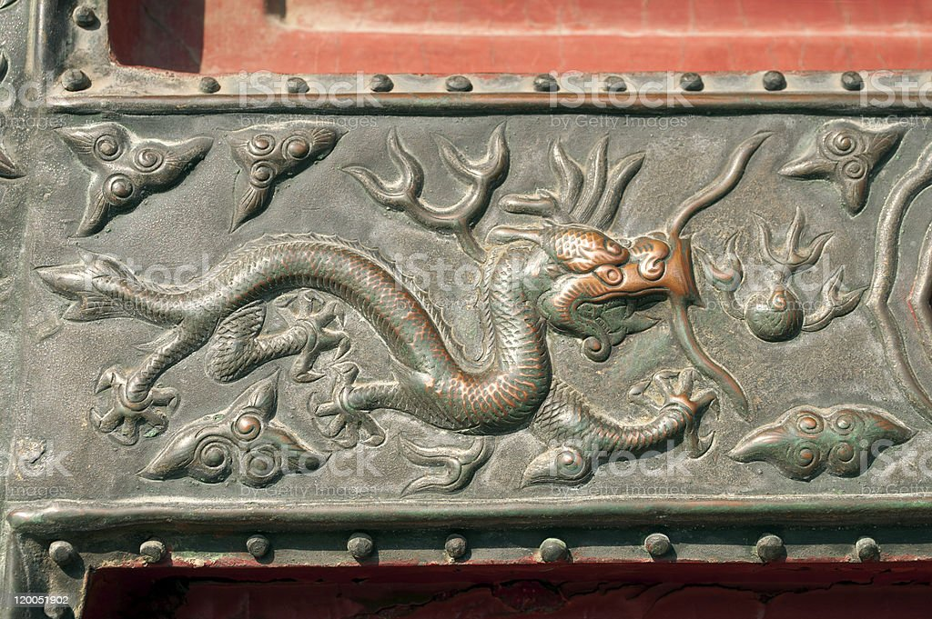 Imperial Dragon on Door in Forbidden City royalty-free stock photo