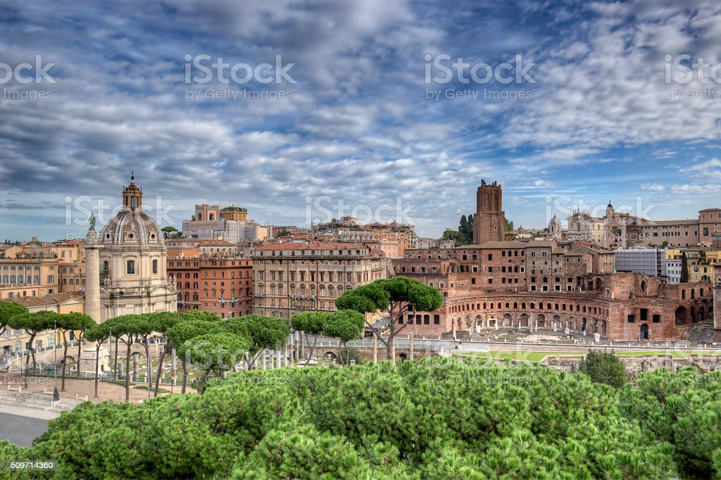 Imperial Fora in Rome Wide View stock photo