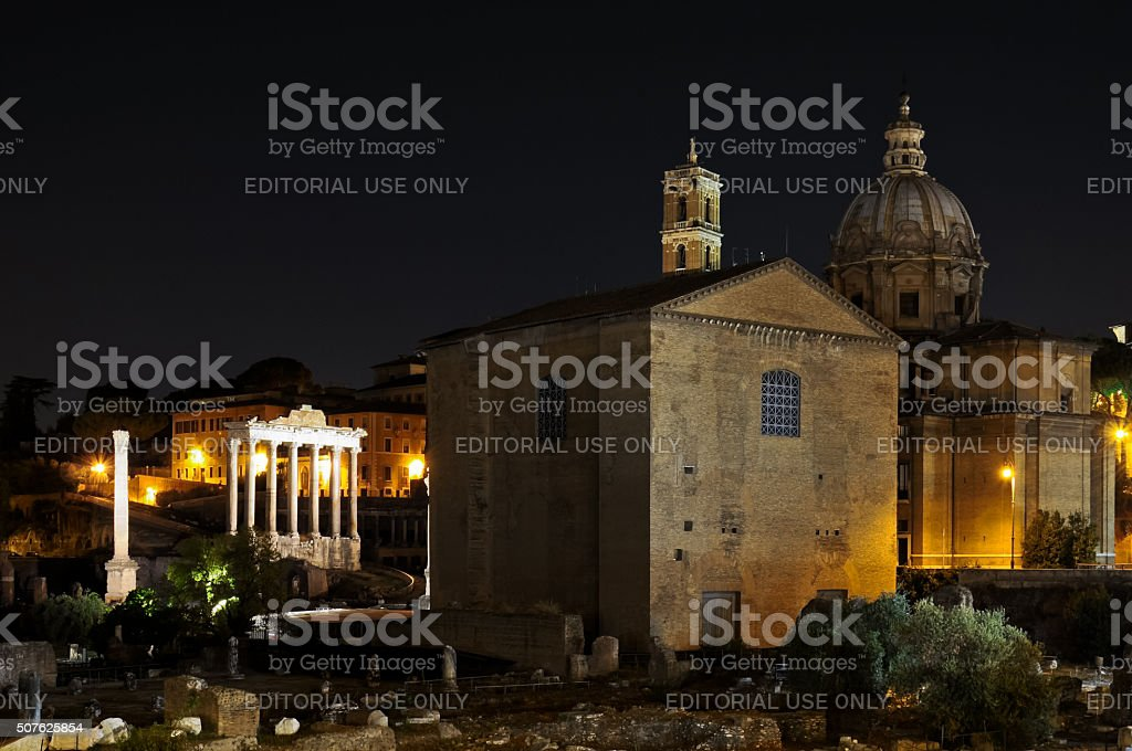 Imperial Forums in Rome by night stock photo