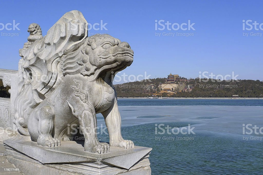 Imperial guardian lion in the Summer Palace royalty-free stock photo