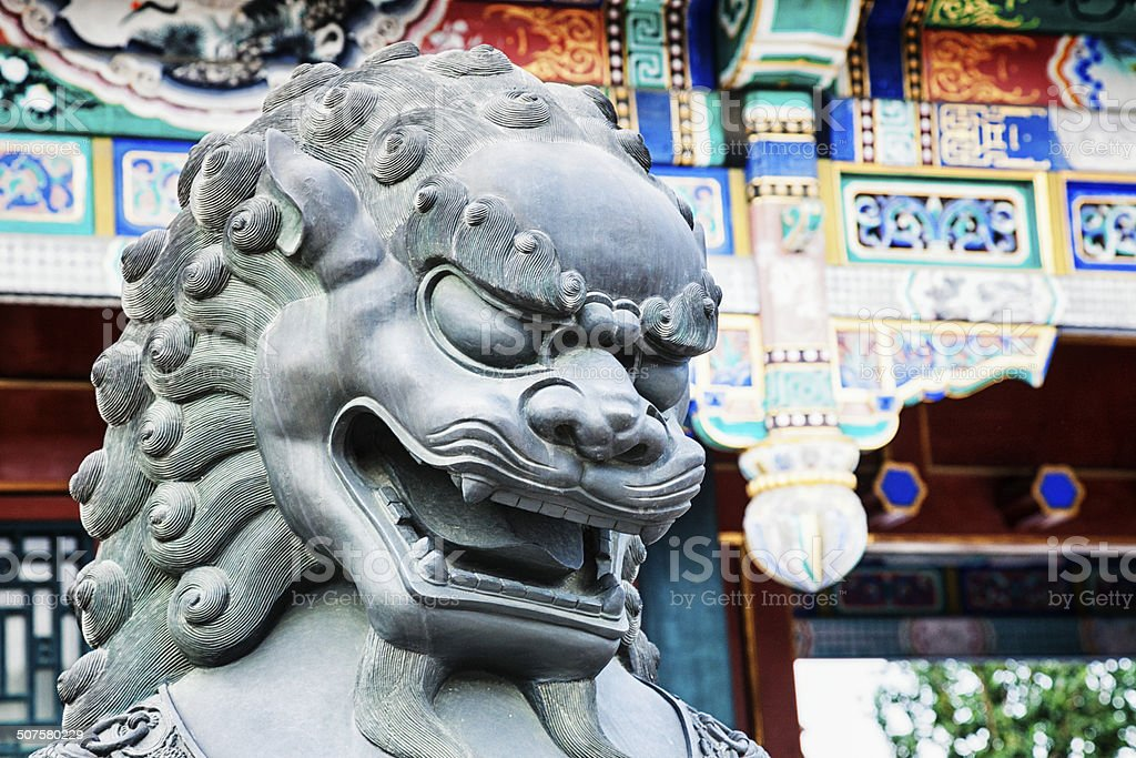 Imperial Lion in the Summer Palace stock photo