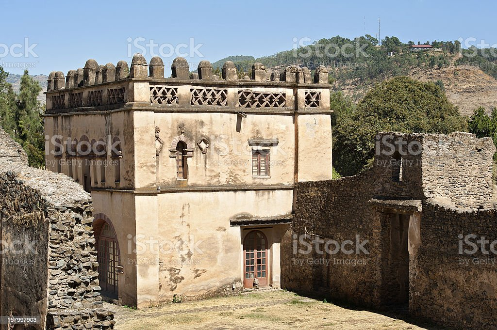 Imperial palace in the Royal Enclosure, Gondar, Ethiopia stock photo