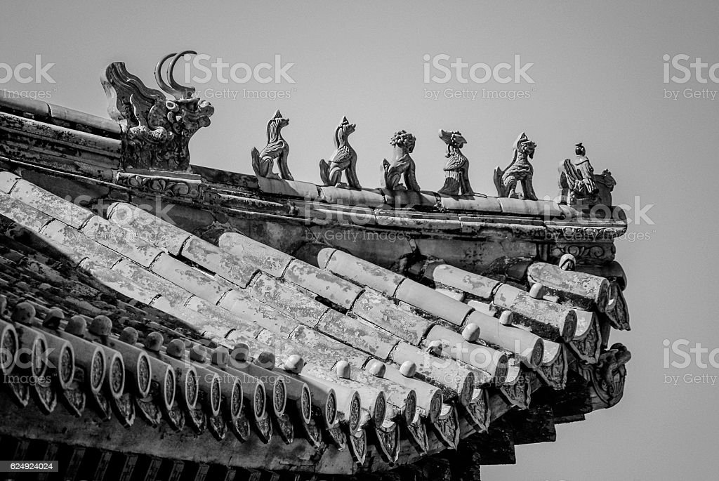 Imperial roof decoration on building in the Summer Palace stock photo