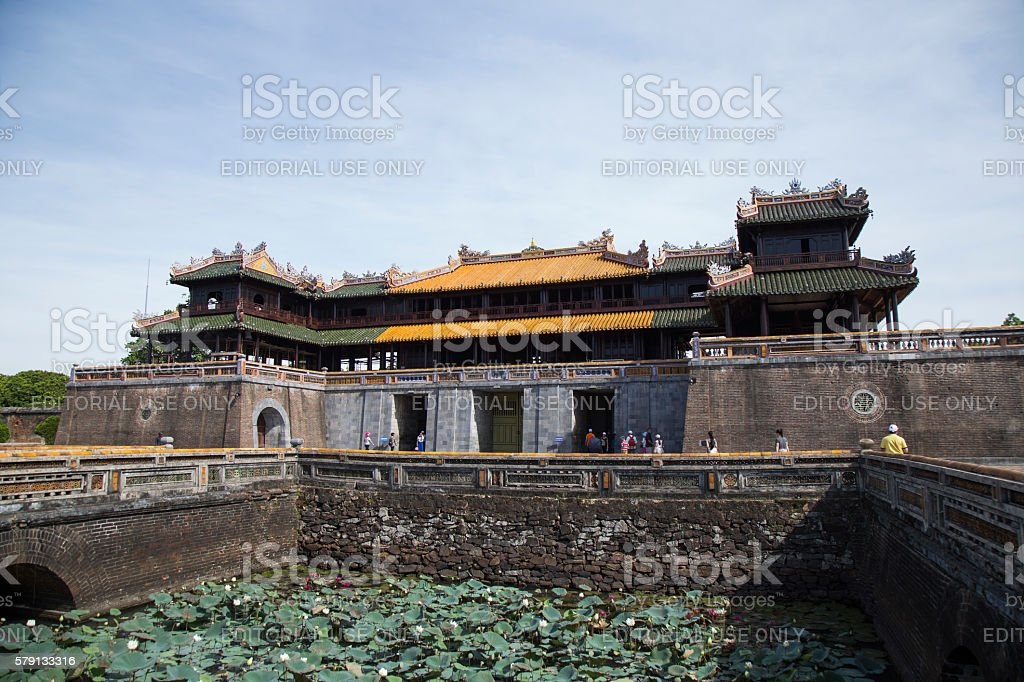 Imperial Royal Palace of Nguyen dynasty at Ngo Mon gate stock photo