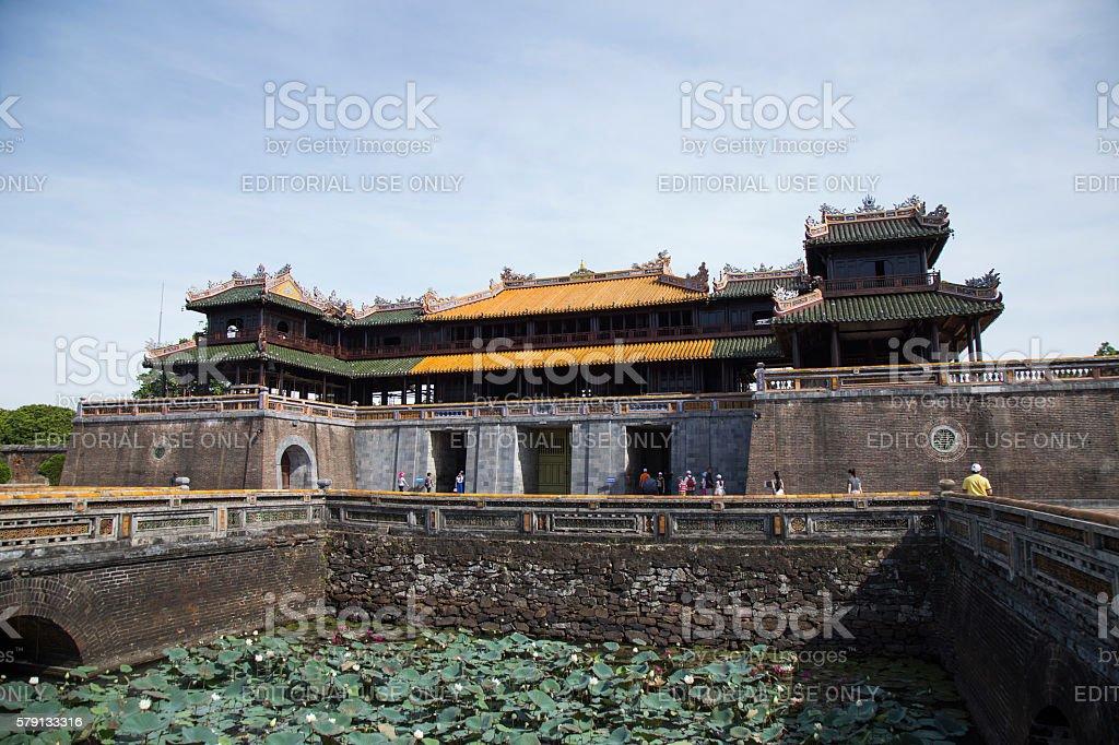 Imperial Royal Palace of Nguyen dynasty at Ngo Mon gate stock photo
