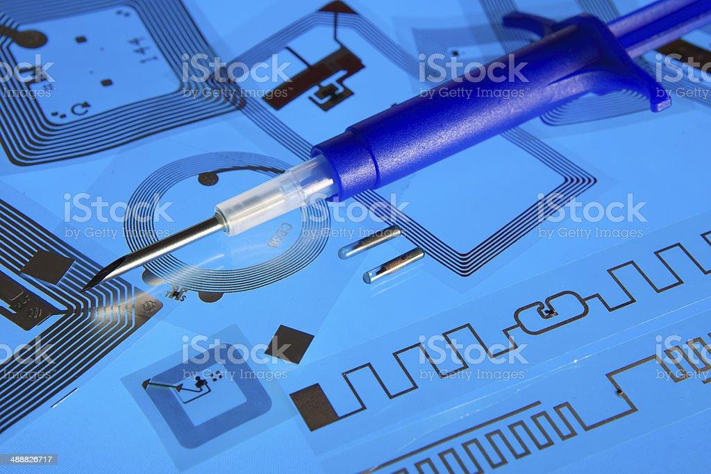 RFID implantation syringe and RFID tags stock photo