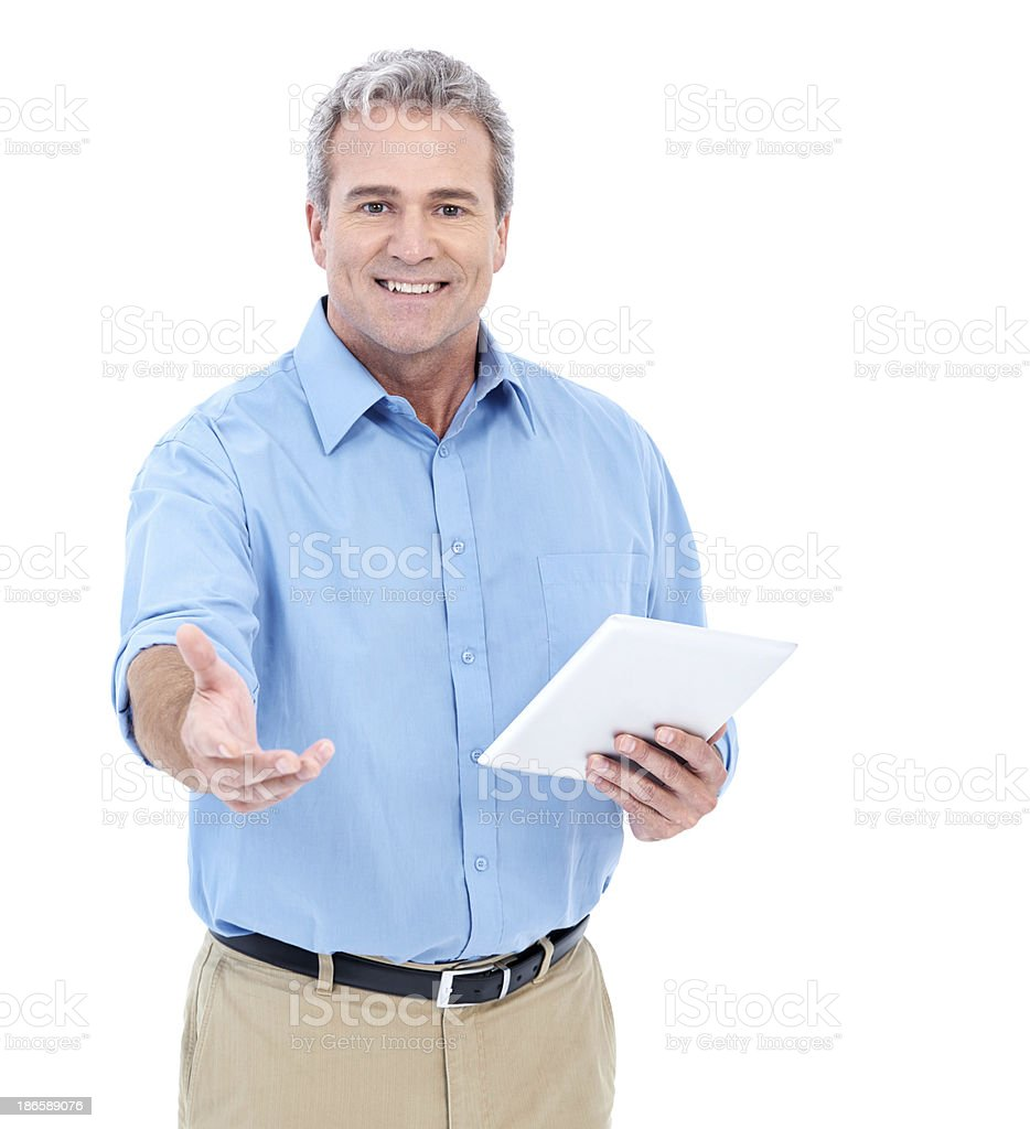I implore you to purchase a tablet royalty-free stock photo