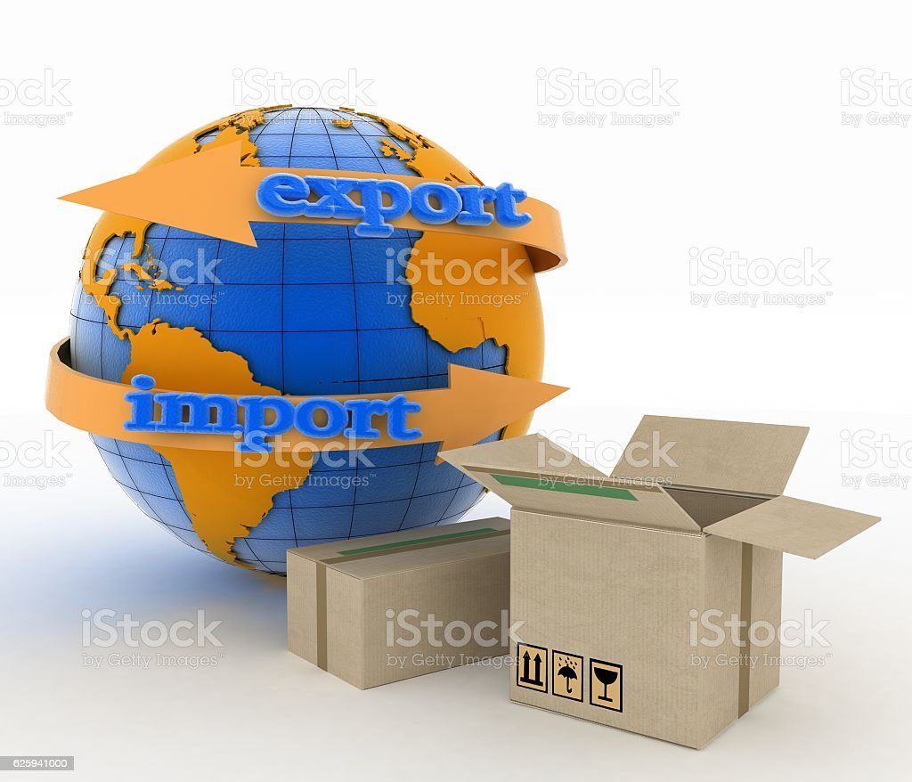 Import and export arrow around earth for business stock photo