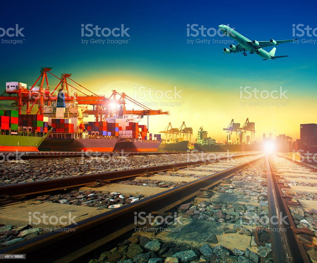 import export and transportation theme stock photo