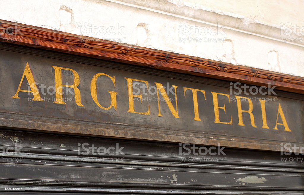 important and ancient Italian shop sign with the word Argenteria royalty-free stock photo