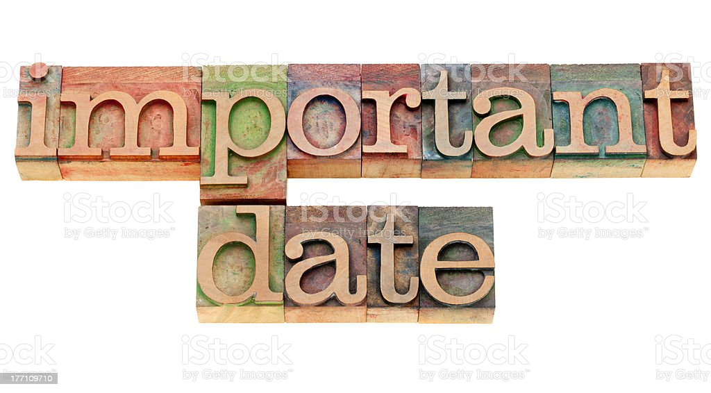 important date in letterpress type royalty-free stock photo