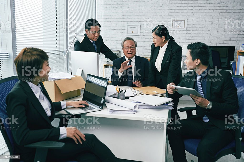 Important discussing stock photo