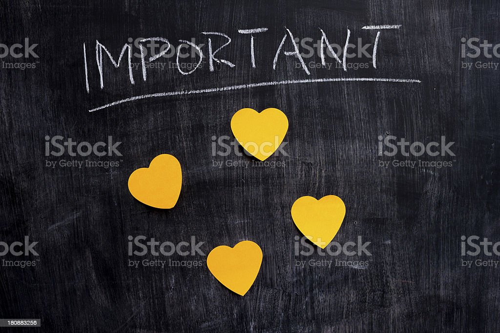 Important heart shaped notes on blackboard royalty-free stock photo