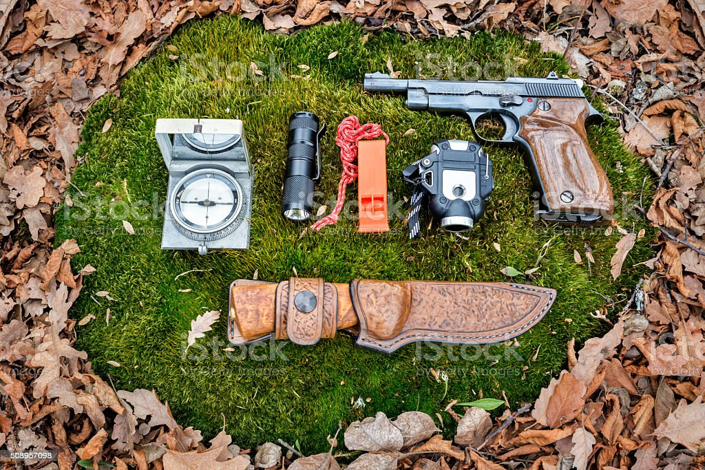Important items for hunting activities stock photo