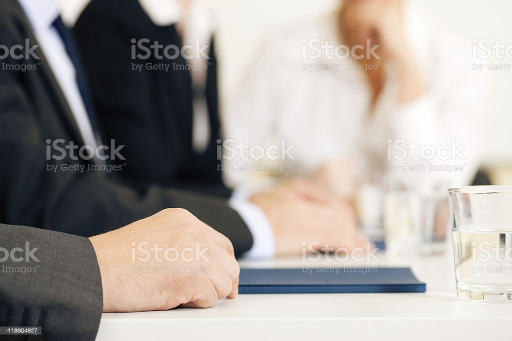 Important men deciding together what's better for their jobs stock photo