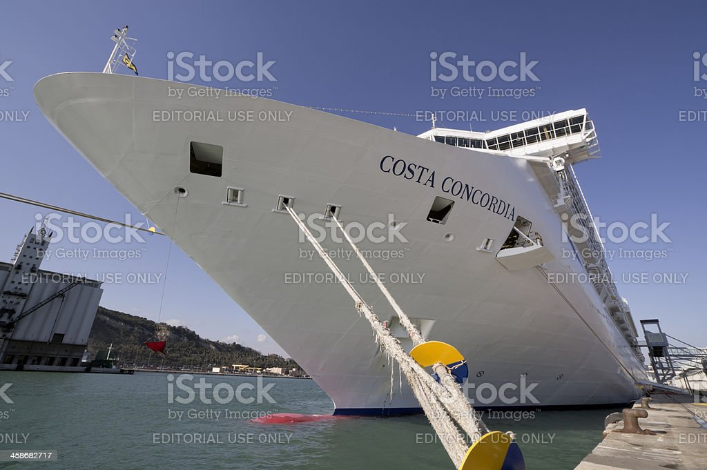 Imposing prow of cruise ship Costa Concordia stock photo