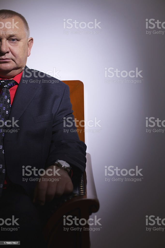 Imposing senior businessman in office royalty-free stock photo