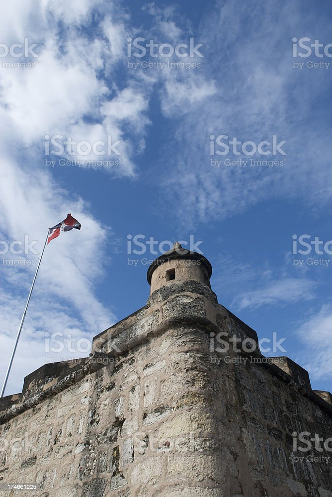 Imposing Stone Fort Tower stock photo