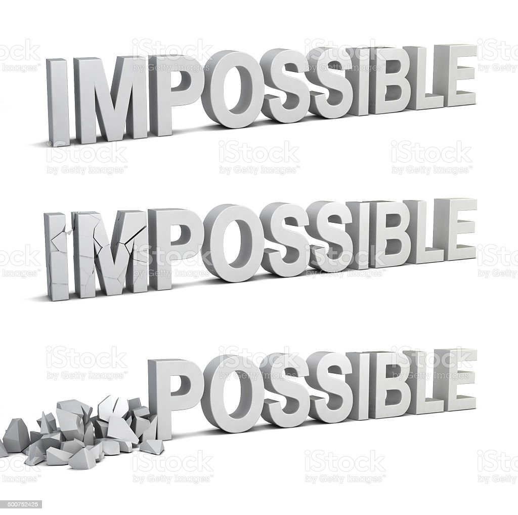 Impossible becomes possible stock photo