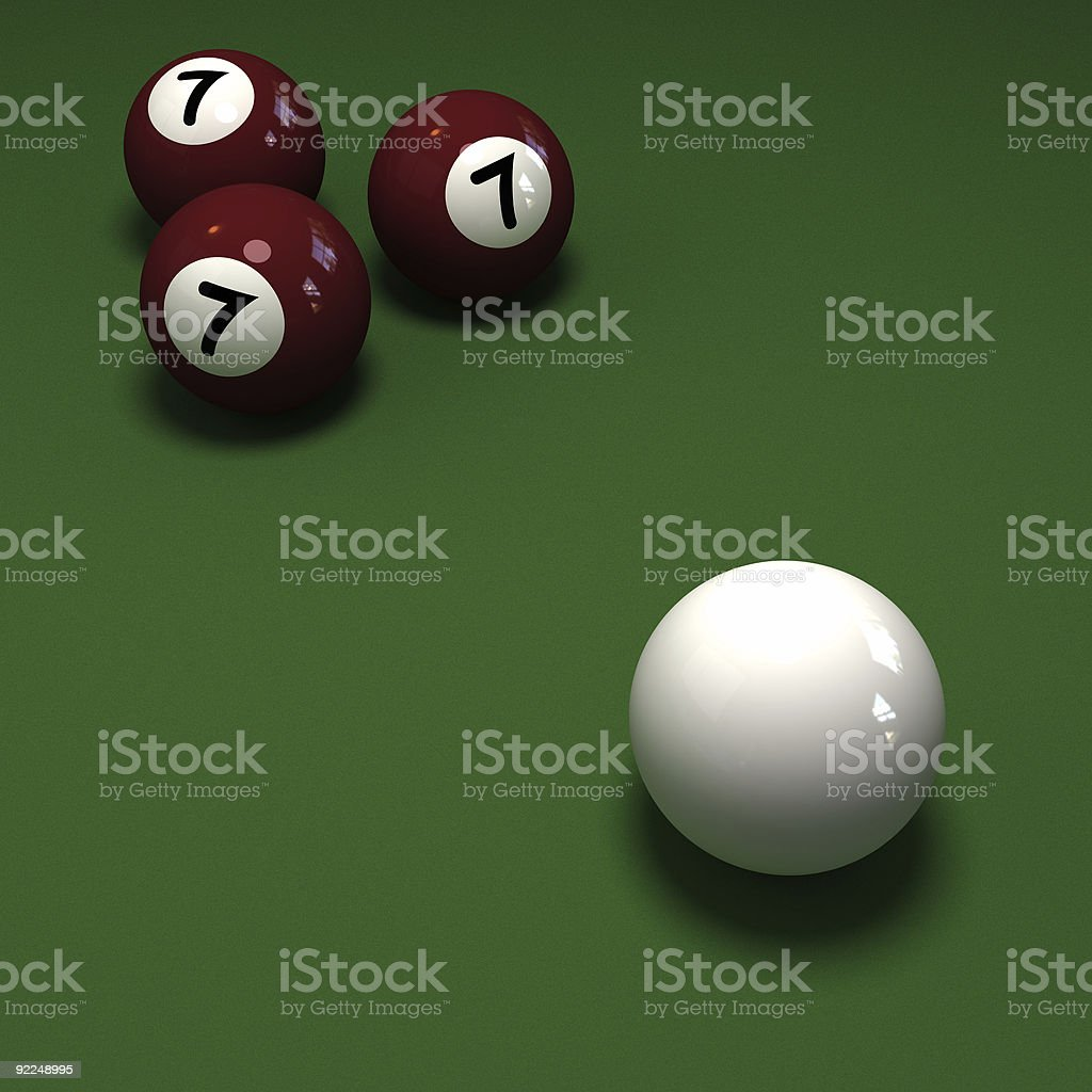 Impossible Billiards game showing three balls with number 7 stock photo
