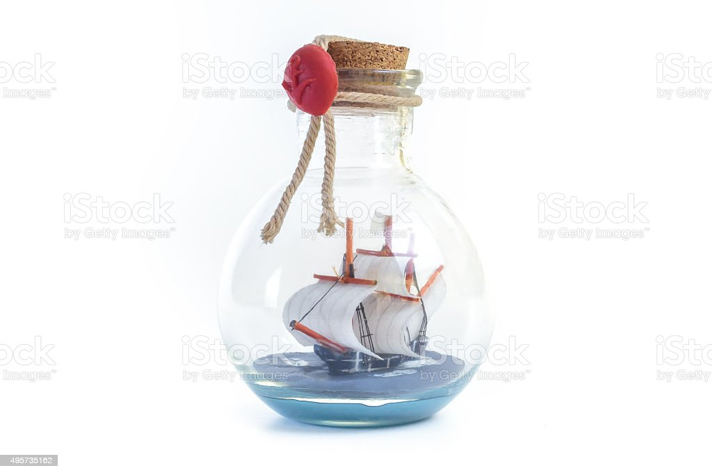 Impossible bottle. Ship in a Bottle stock photo