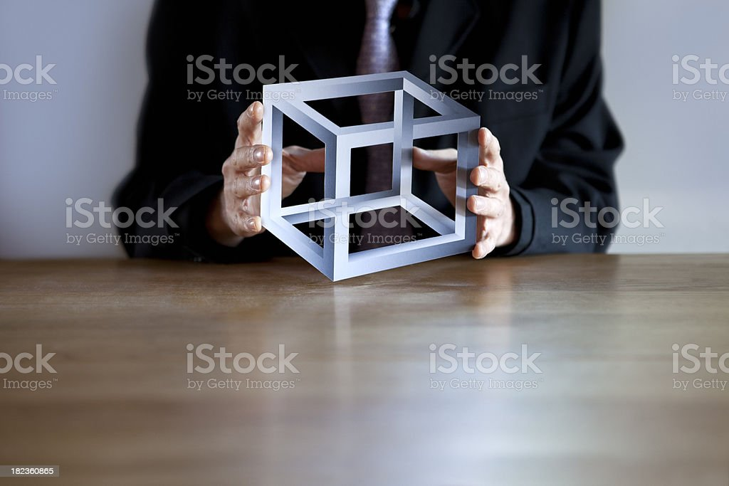Impossible Business Puzzle Cube royalty-free stock photo