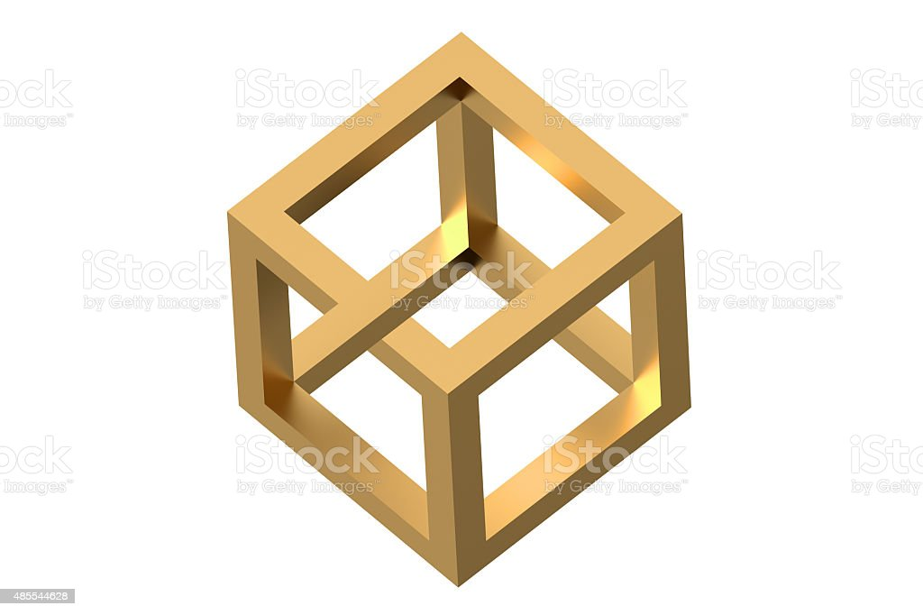 Impossible cube optical illusion stock photo