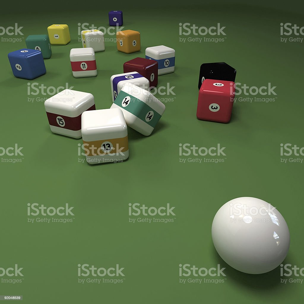 Impossible cubic billiard game royalty-free stock photo
