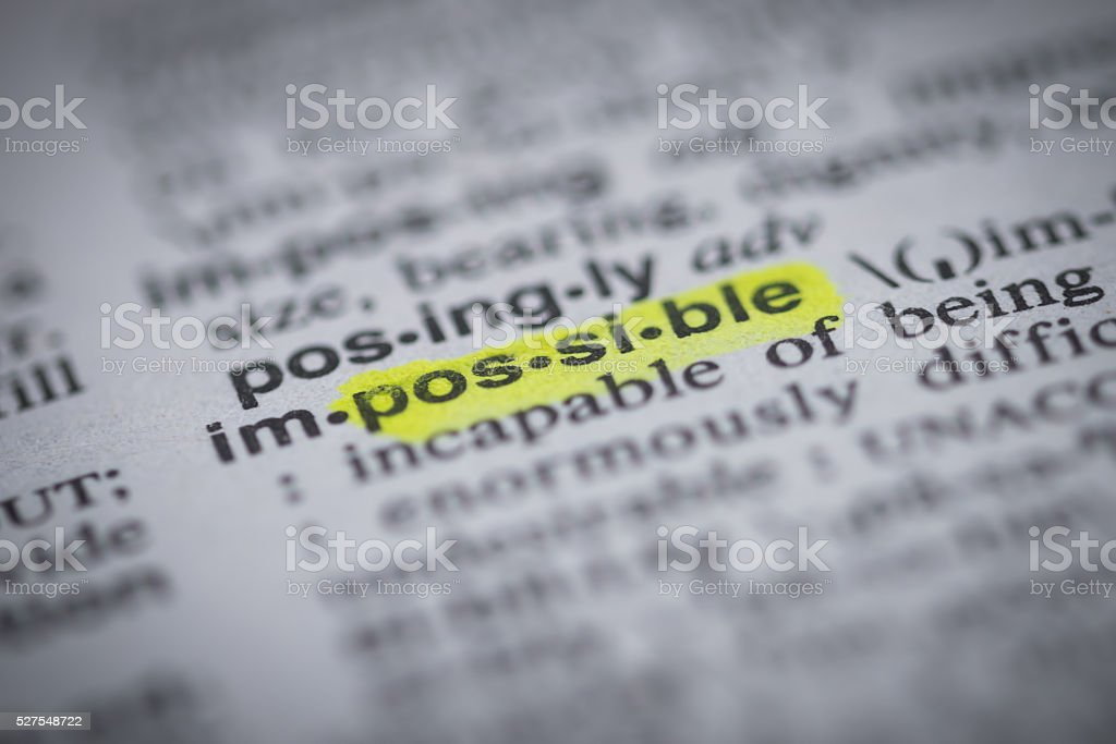 impossible definition stock photo