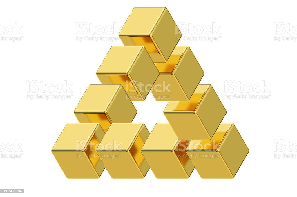 Impossible golden triangle optical illusion, 3D rendering stock photo