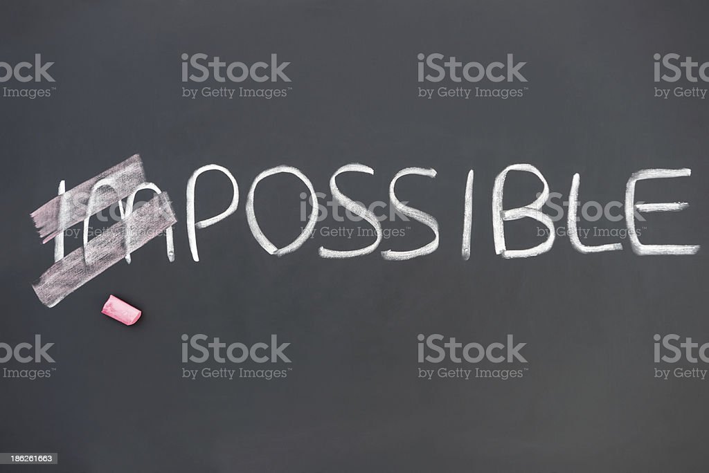 impossible on blackboard with im covered stock photo