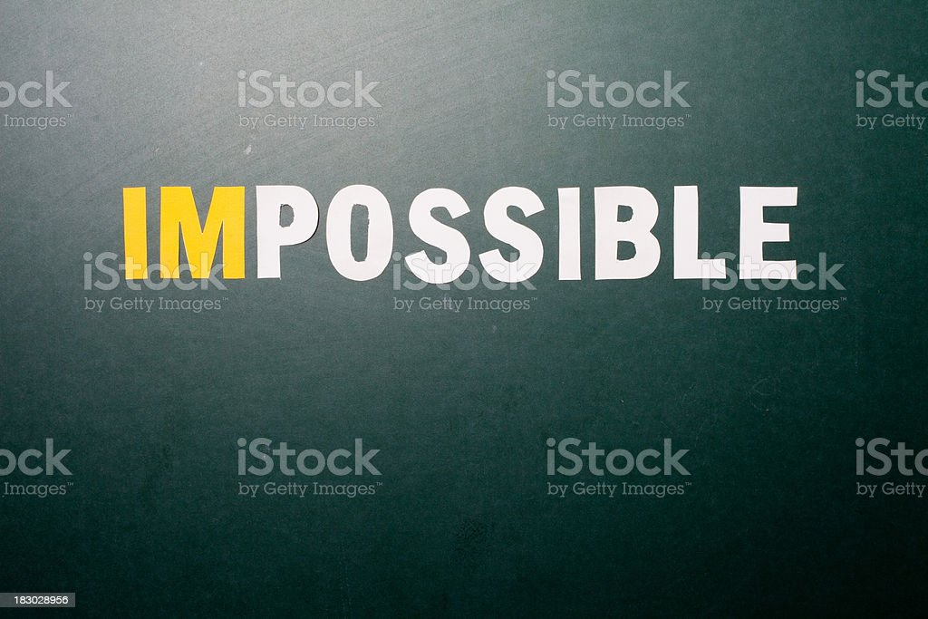 Impossible says, IM'Possible, Conceptual Image of the word text stock photo