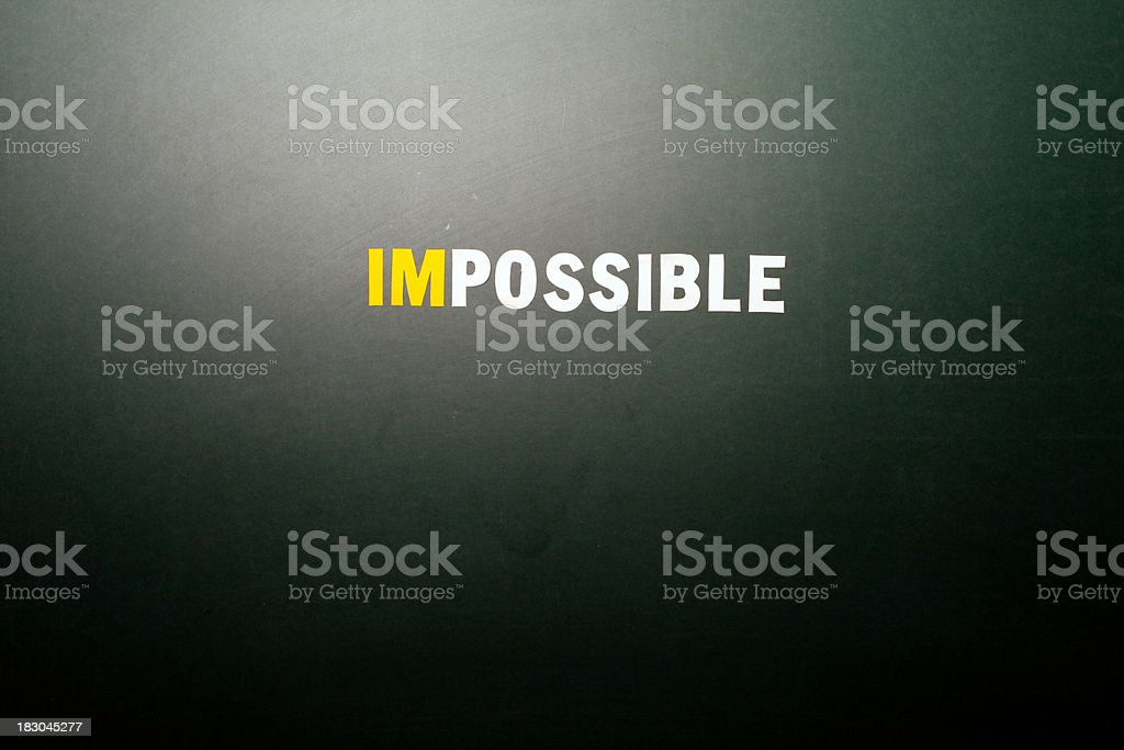 Impossible says, IM'Possible, Conceptual Image word text Greenboard stock photo