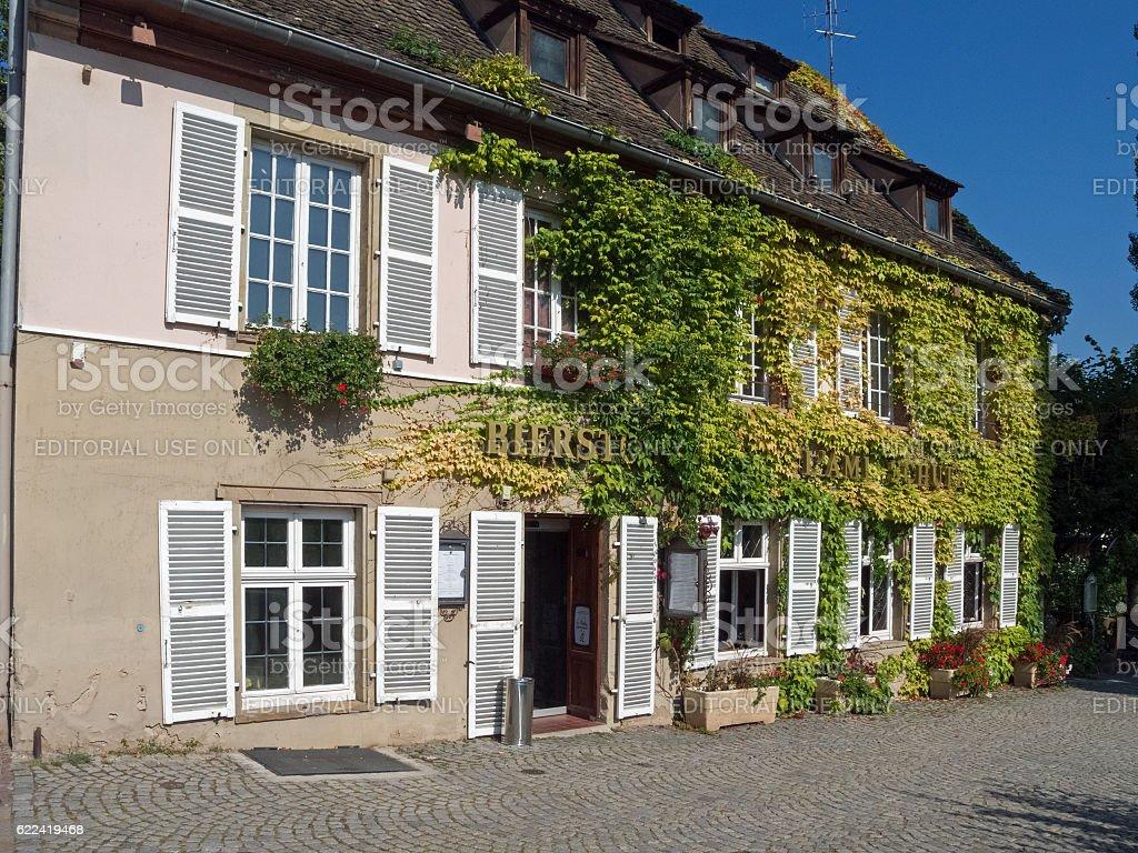 Impressions of Strasbourg: Restaurant L'Ami Schutz in the quarter La-Petite-France stock photo