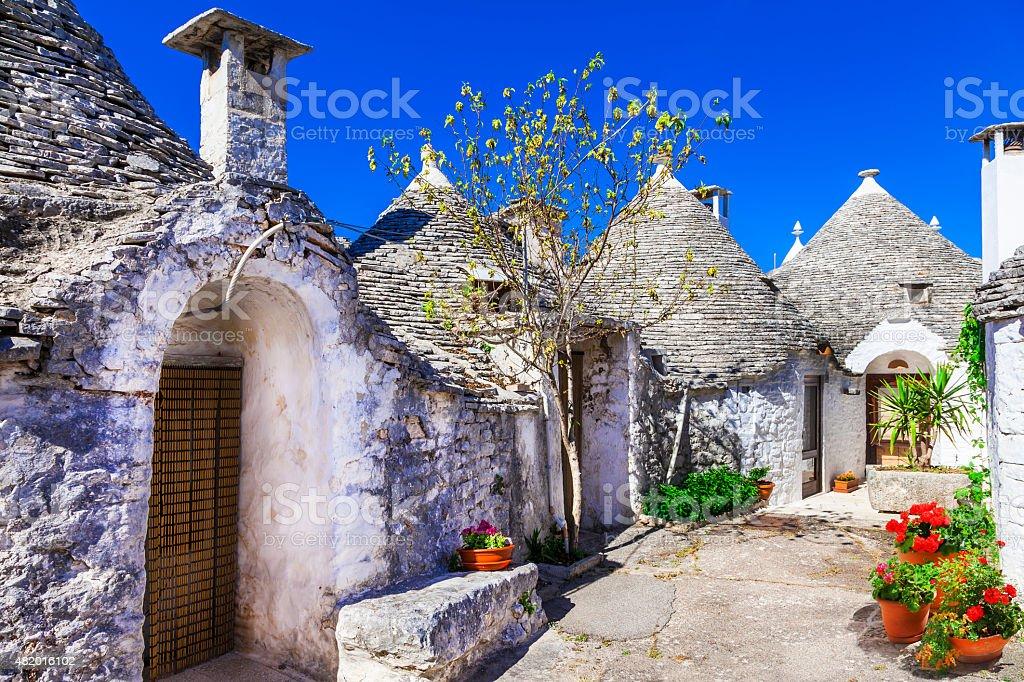 Impressive Alberobello,Puglia Italy. stock photo