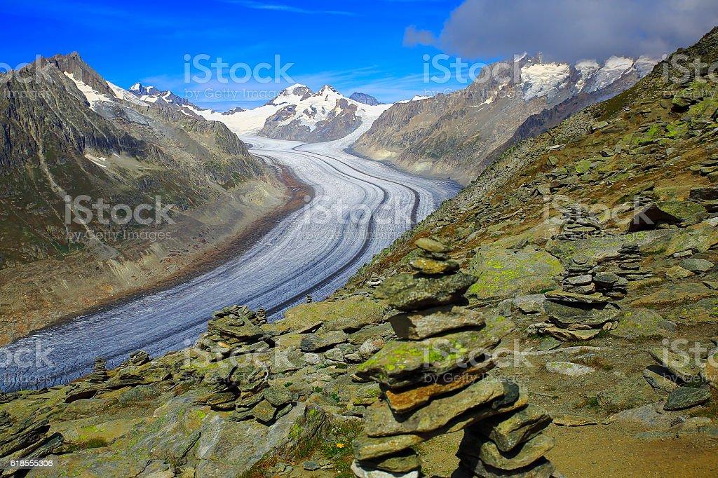 Impressive Aletsch Glacier, Jungfrau, Mönch above Bernese Swiss Alps stock photo
