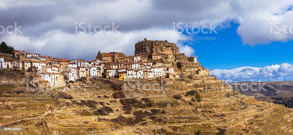 Impressive Ares del Mestre village. stock photo