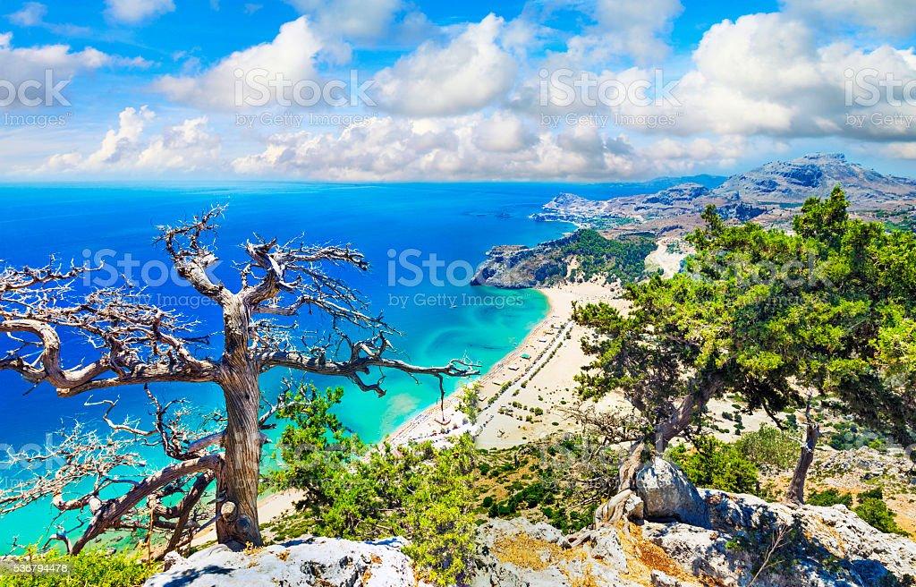 Impressive Beach Of Rhodes Island,Greece. stock photo