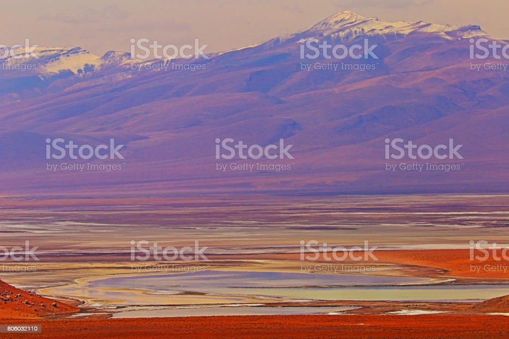 Impressive Bolivian Andes altiplano, lake marsh valley, and Idyllic Atacama Desert, Volcanic landscape panorama – Potosi region, Bolivian Andes, Chile, Bolívia and Argentina border stock photo