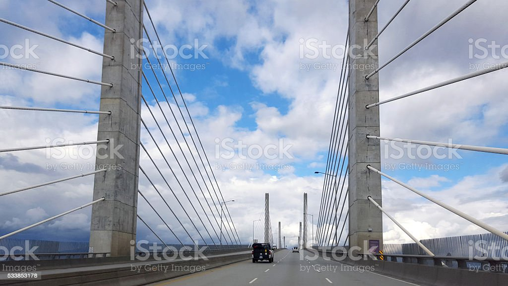 Impressive Cable Stayed Golden Ears Toll Bridge stock photo