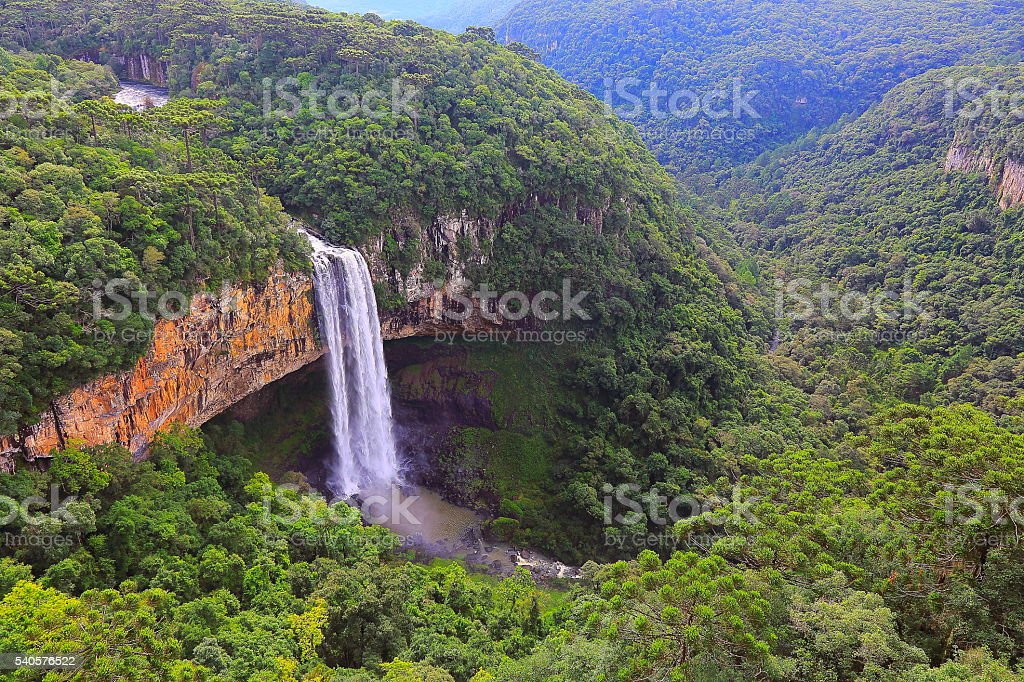 Impressive Caracol falls, Canela, Rio Grande do Sul, Brazil stock photo