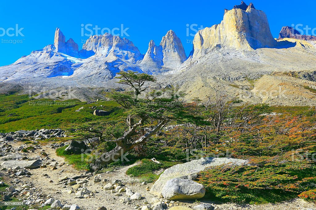 Impressive Cuernos Del Paine massif peaks panorama, Chilean Patagonia landscape stock photo