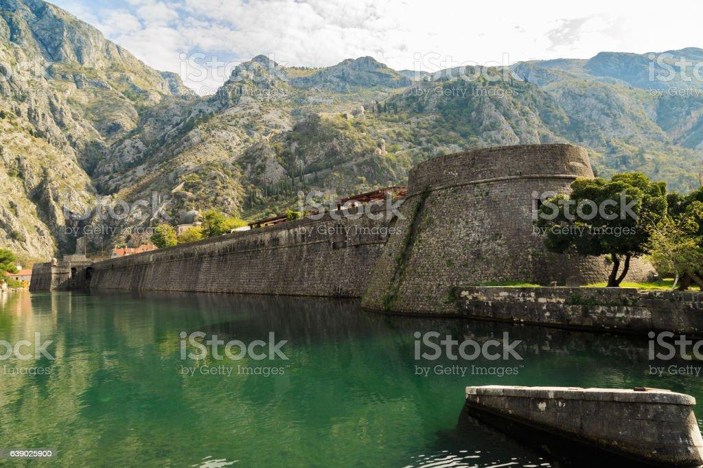 impressive curtain wall of Kotor stock photo