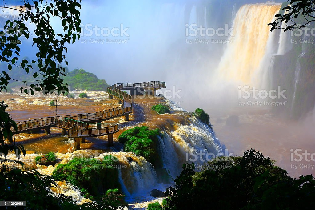Impressive Iguacu falls and green rainforest, Brazil Argentina, South America stock photo