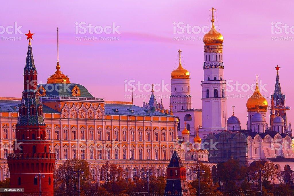 Impressive Kremlin at beautiful sunrise, Moscow, Russia stock photo