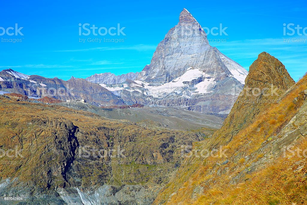 Impressive Matterhorn from Gorner Glacier, swiss alps landscape, Switzerland stock photo