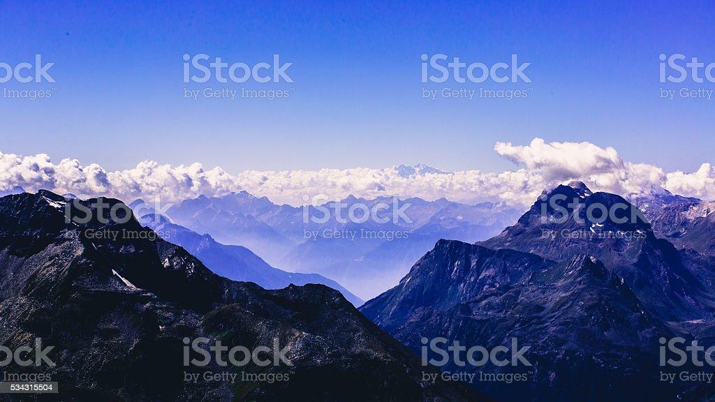 impressive mountain panorama swiss alps stock photo
