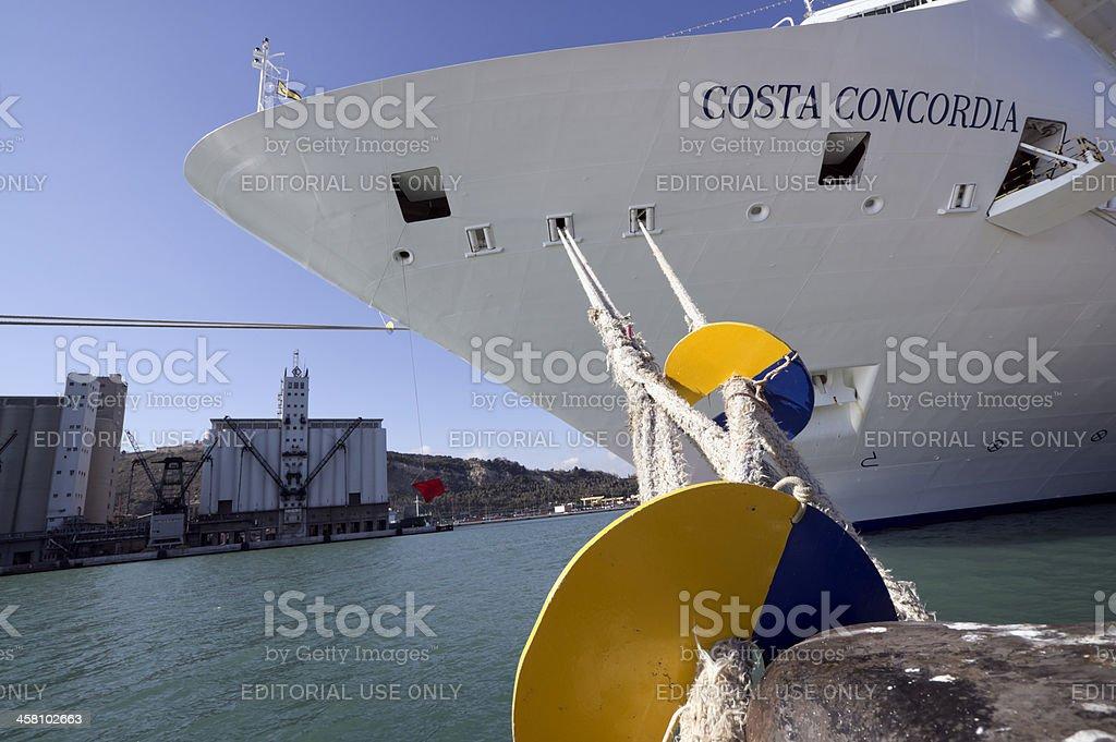 Impressive prow of cruise ship Costa Concordia stock photo