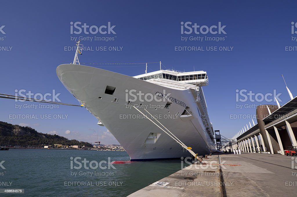 Impressive prow of cruise ship Costa Concordia stock photo