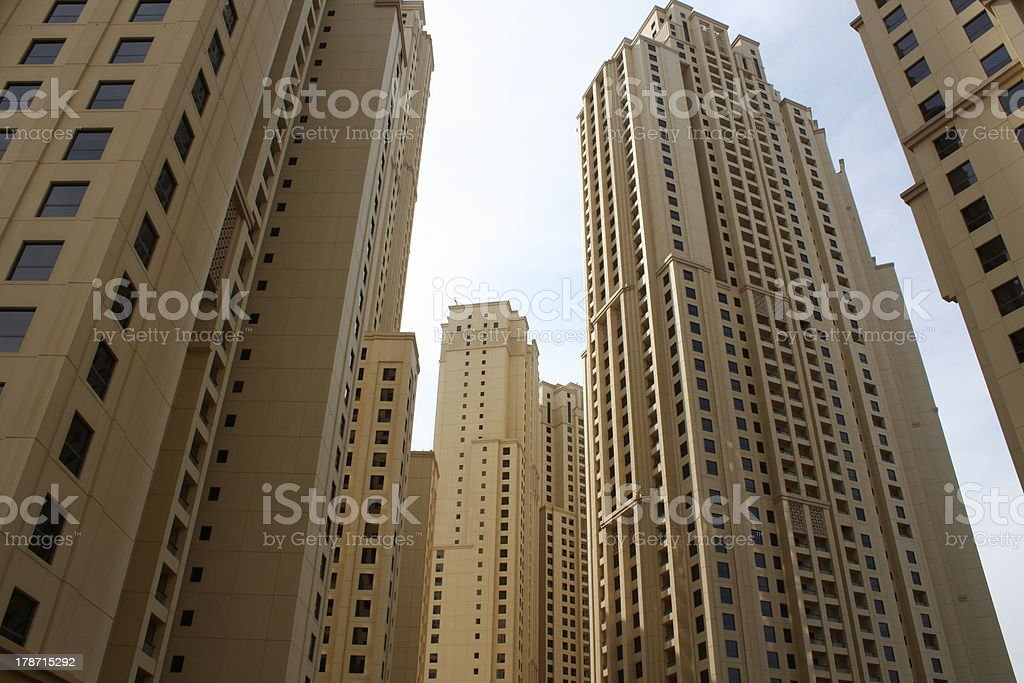 Impressive Skyscrapers at Jumeirah Beach Residence in Dubai stock photo